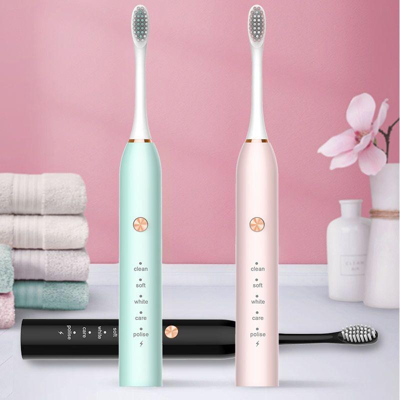 【厂家直销】电动牙刷充电式防水声波超美白自动牙刷成人儿童软毛