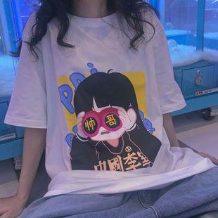 印花短袖t恤男女学生韩版宽松闺蜜情侣装