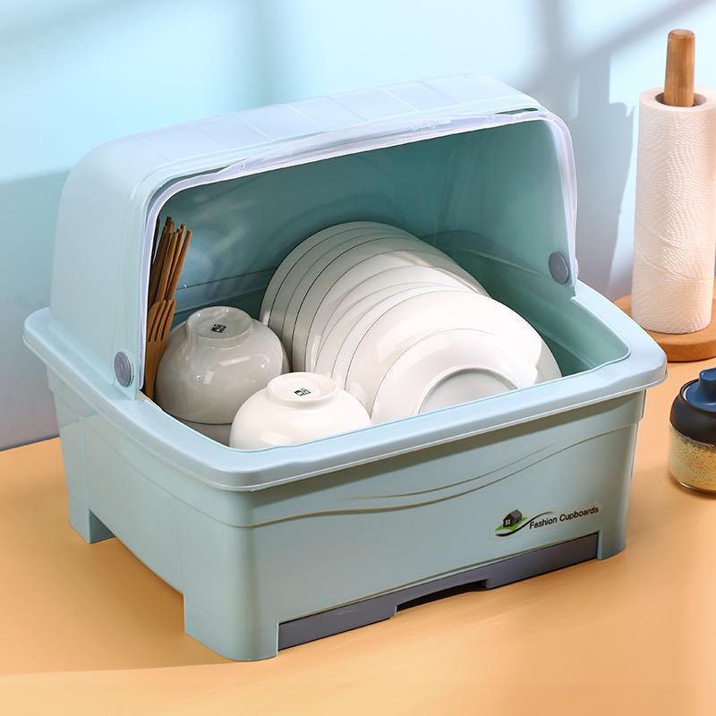 厨房大号塑料碗柜带盖放碗箱沥水碗架碗筷收纳盒碗碟餐具笼整理架