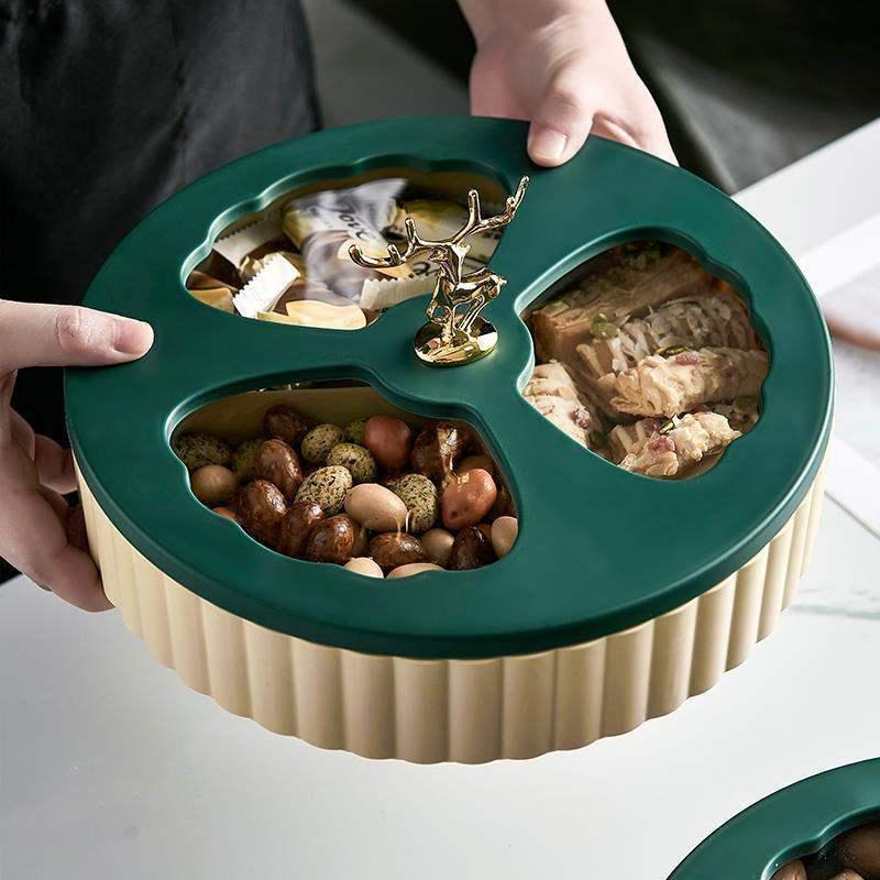 果盘客厅零食收纳盒水果盘收纳多层塑料客厅茶几家用糖果盘干果盒