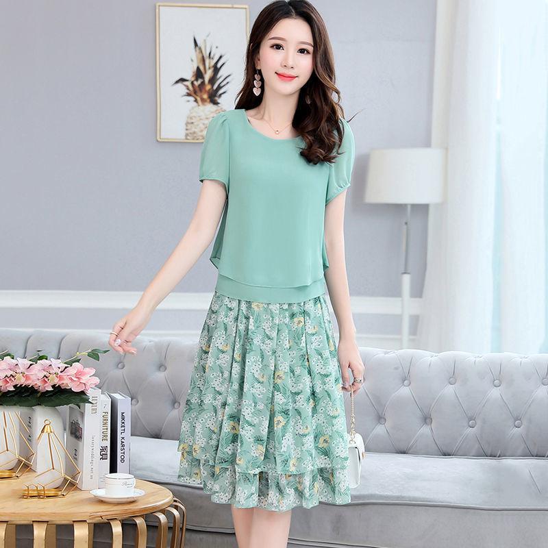 雪纺套装裙女夏季显瘦两件套碎花半身裙子潮