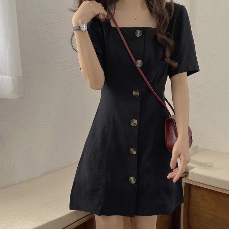 2021新款韩版收腰显瘦方领短袖小黑色裙