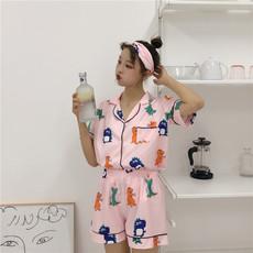 0687实拍春夏秋女韩版新款印花淘气恐龙学生可外穿睡衣套装送发箍