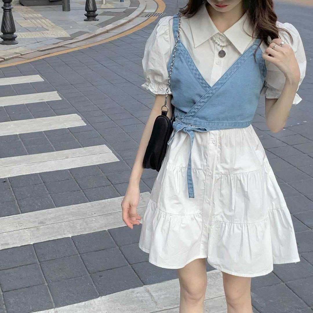 泡泡袖连衣裙套装韩版气质中长款初恋衬衫裙