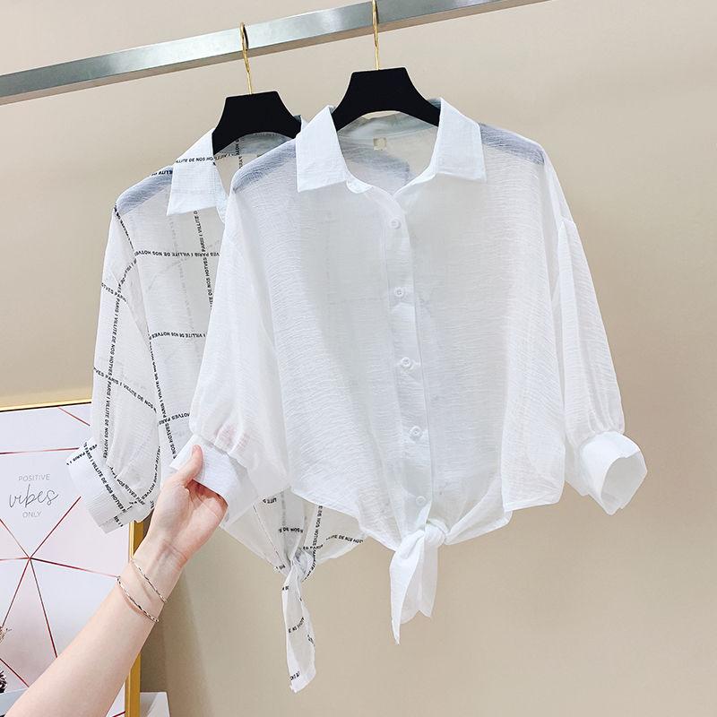 白色披肩女宽松外搭衬衫外套短款防晒衣