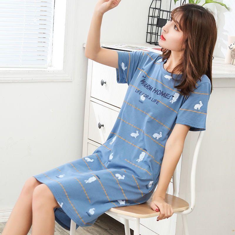 大码短袖睡裙女夏季韩版宽松可爱学生