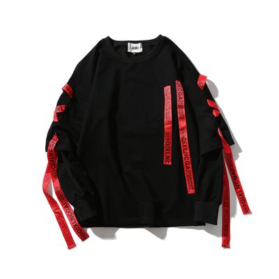 Châu âu và Hoa Kỳ hip-hop đường phố streamers giả hai mảnh áo len áo len nam dài tay áo mùa thu Hàn Quốc phiên bản của thủy triều sinh viên bf lỏng t-shirt Áo len