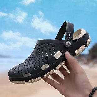 夏天新款男士洞洞鞋外穿拖鞋