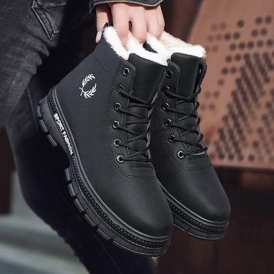 新款冬季雪地靴男士加绒加厚高帮棉鞋保暖马丁靴男韩版百搭中短靴
