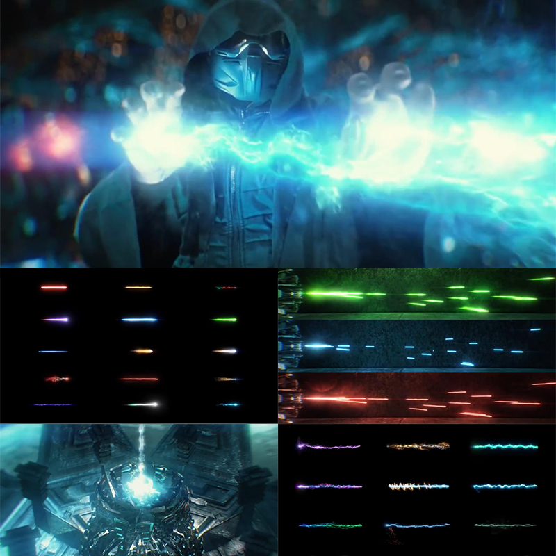 【A106】115组科幻冲击能量波魔法武器开枪火焰光线特效合成4K视频素材