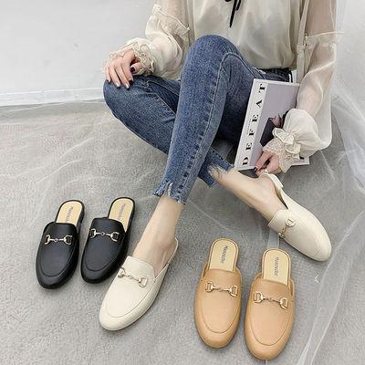 28拖鞋女外穿2021新款网红包头半拖鞋韩版学生平底休闲防滑