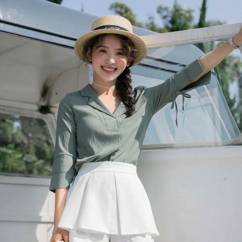 2018夏季新款韩版甜美小清新纯色显瘦气质雪纺衫上衣女小女生时尚