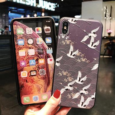 中国风仙鹤唯美花鸟苹果XS/max手机壳iPhone7plus/8/6S浮雕软壳XR