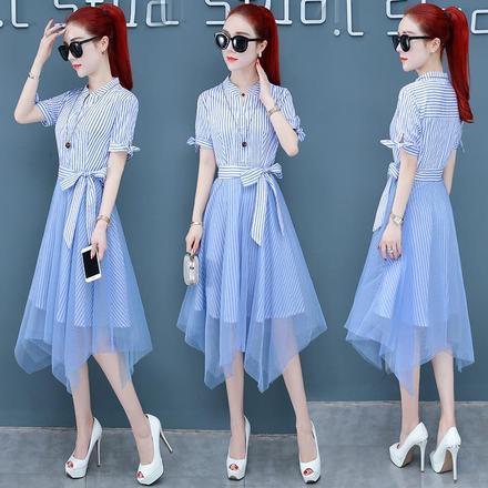 夏季连衣裙女装2020新款收腰显瘦中长款网纱拼接女神范气质裙子潮