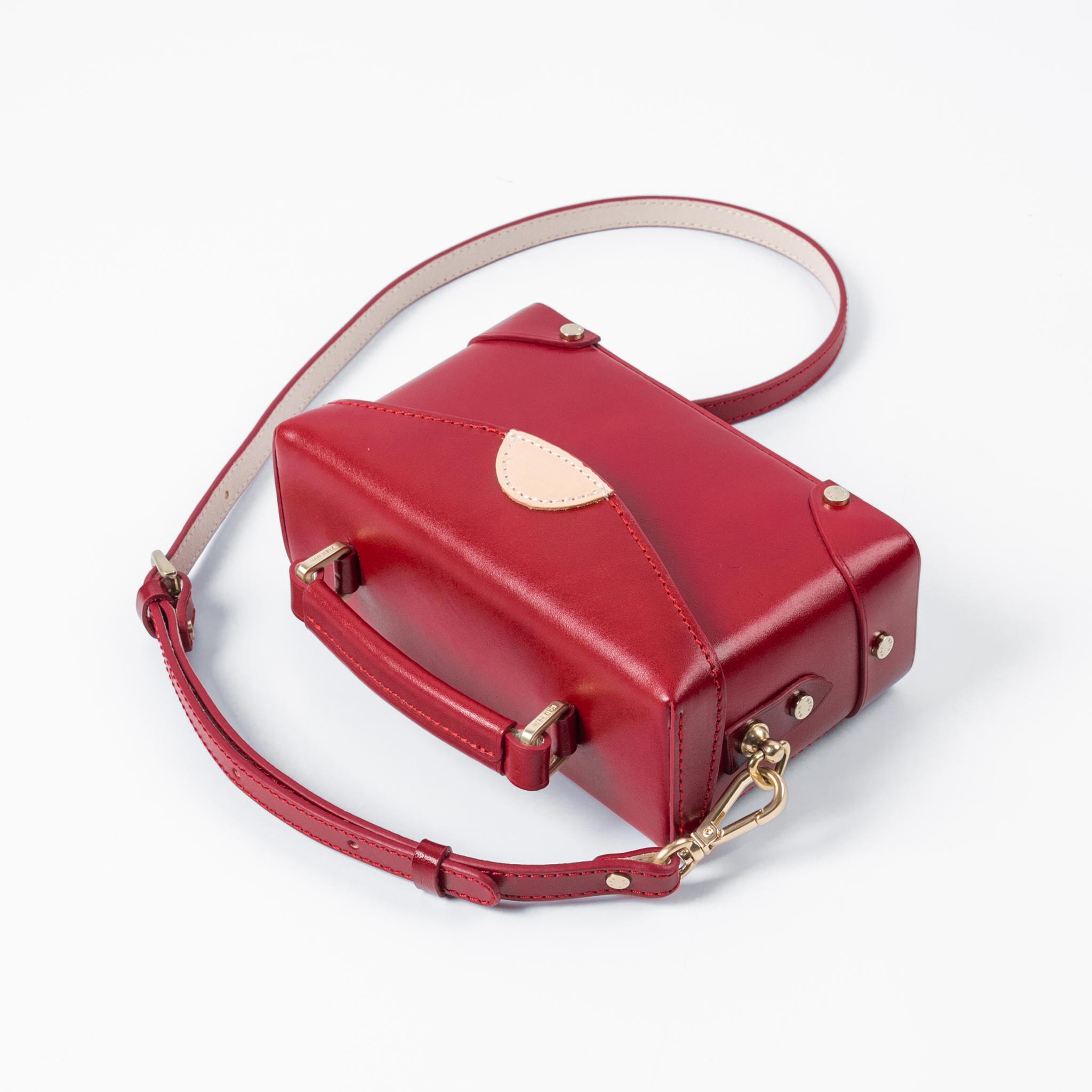 HANHSIA/函夏手工 酒红色小方包盒子包百搭休闲斜挎小包真皮女包
