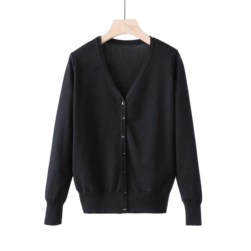 Mùa xuân mới áo len nam và nữ áo len mỏng phần cổ chữ V áo len rắn giản dị áo len rộng cỡ lớn - Cặp đôi áo len