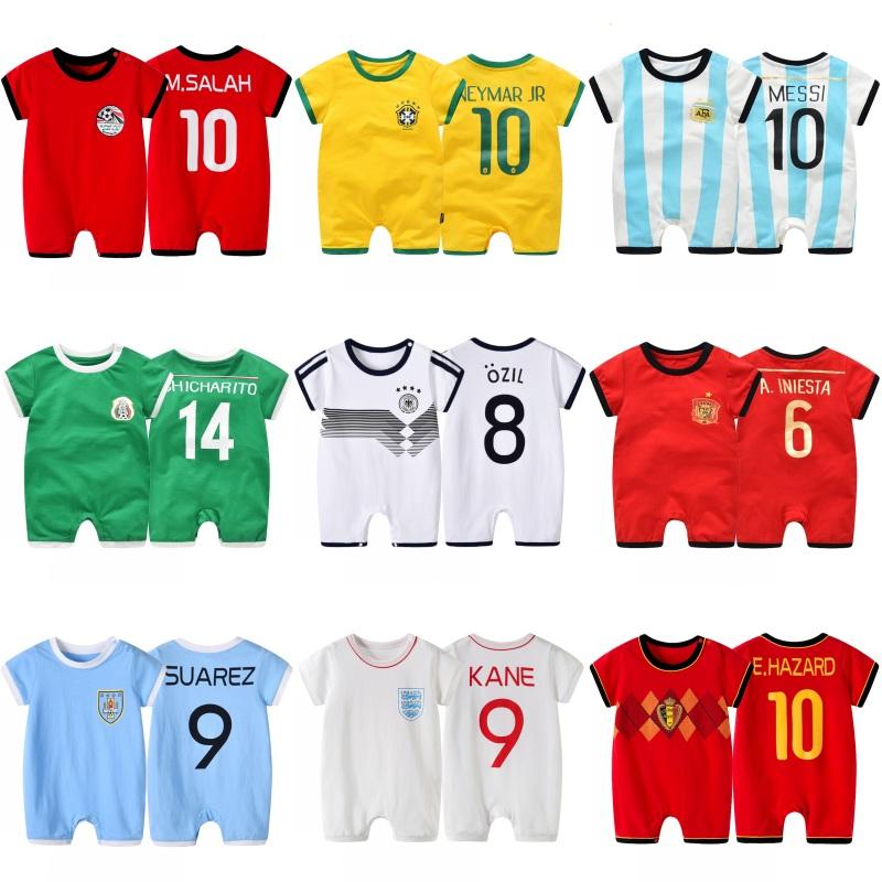 Quần áo bóng của trẻ em 2018 World Cup bóng đá quần áo, quần short, bé jersey, bé romper, một mảnh váy, bông
