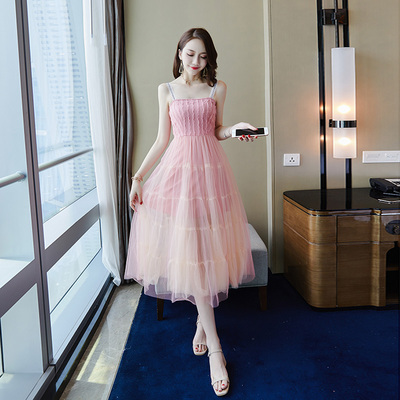 夏季新款女装修身显瘦名媛气质网纱吊带一字肩连衣裙超仙长裙