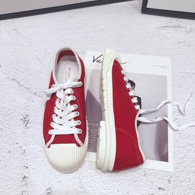 帆布鞋女新款平跟休闲百搭复古港味学院风鞋子时尚板鞋潮
