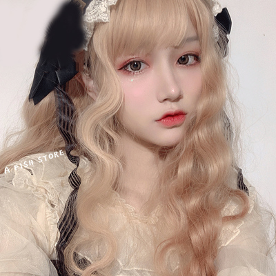 taobao agent Japanese Lolita soft sister Lolita male disguised as women's clothing cd cross-dressing wig pseudo mother daily long curly hair women's big brother