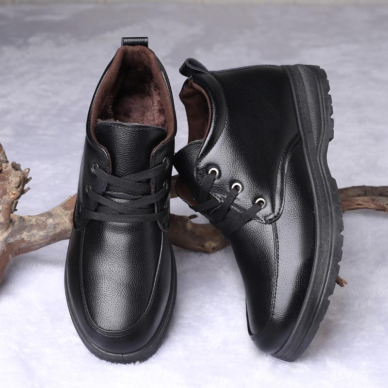 冬季男士皮鞋加绒中年爸爸老人保暖棉鞋中老年人爷爷休闲男鞋潮鞋