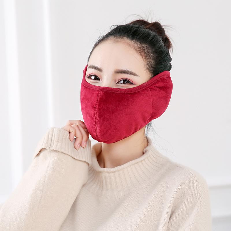 口罩女冬季时尚保暖绒防寒男加厚加大护耳二合一可清洗易呼吸纯棉
