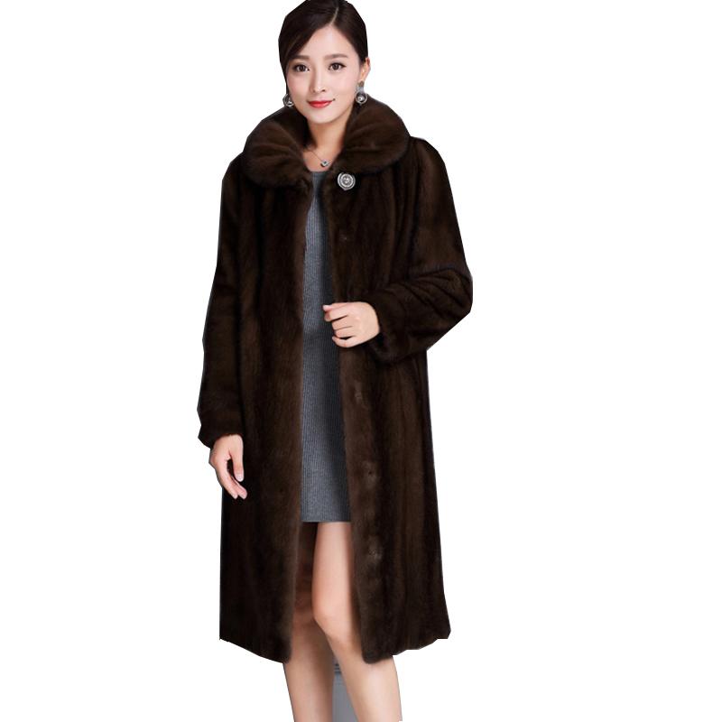 Имитация норки большая кожаная женская одежда норка длинная модель в новый пожилой минк волосы шуба пальто большой двор тонкий теплый
