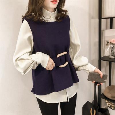 春装新款宽松长袖衬衫套装女百搭衬衣上衣背心马甲两件套