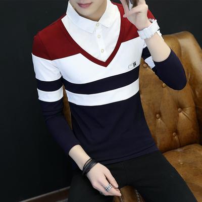 Áo sơ mi cổ áo bông của nam giới 2018 nam dài tay t-shirt Hàn Quốc phiên bản của đẹp trai giả hai mảnh áo mặc một phần mỏng áo thun nam có cổ Áo phông dài