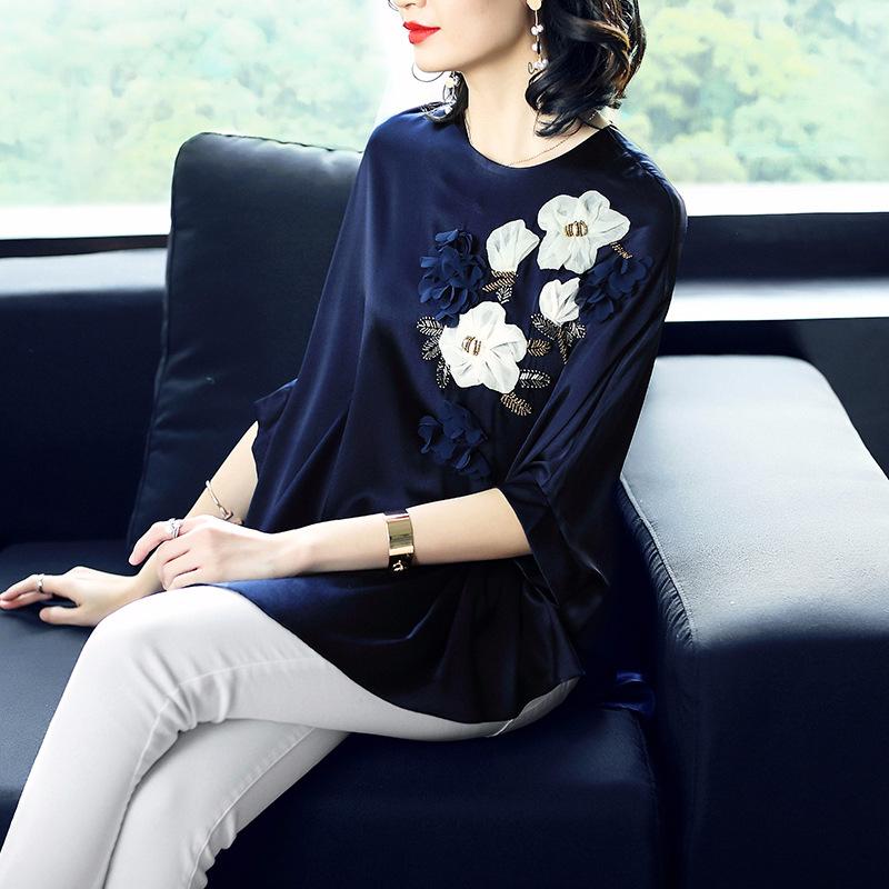 煊煊原创设计品牌 19年夏季新款 宽松蝙蝠袖 真丝弹力缎上衣 淘宝优惠券折后¥398包邮(¥458-60)