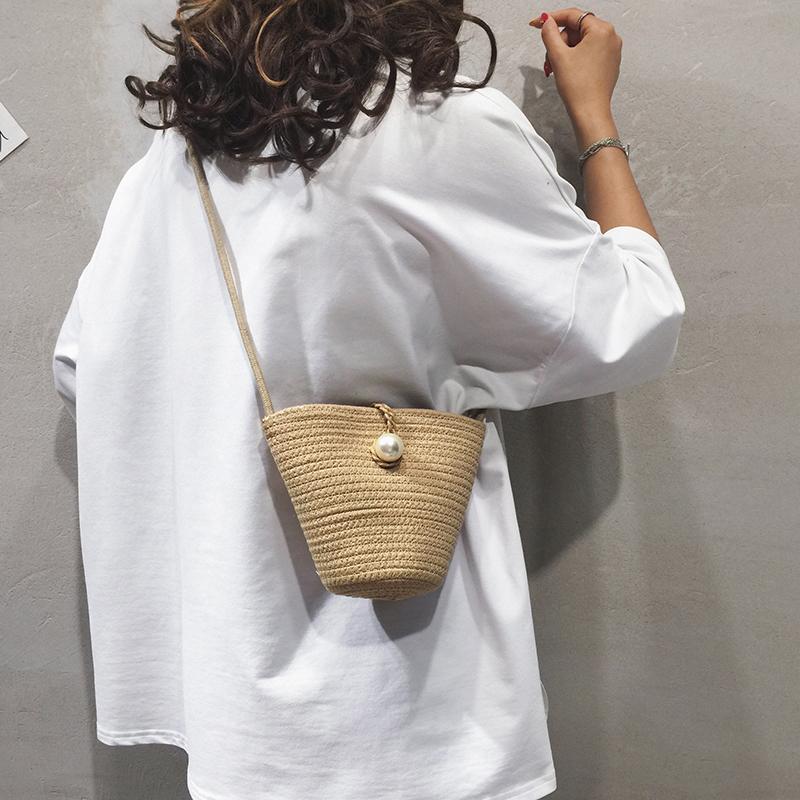 森系编织水桶包包女包新款夏天草编包跨包百搭单肩斜挎包