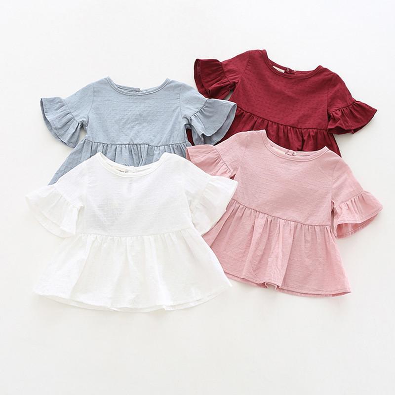 6b34ea4cce37a Baby Clothing Tops Girls Ruffled Shirt Summer Female Baby Short-Sleeve