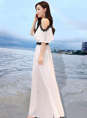 游玩度假最适合的一字露肩雪纺裙子
