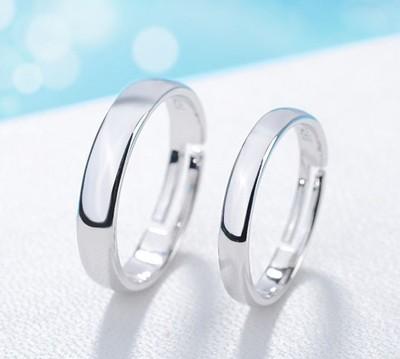 情侣银戒指一对男女对戒简约活口光面开口可调节大小戒指刻字