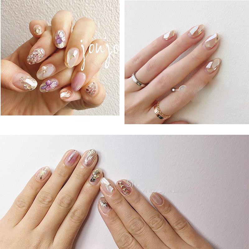 日式美甲joujou同款天然贝壳片不规则大厚贝壳碎片光疗指甲装饰品