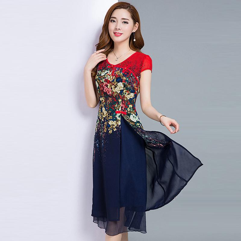 2017新款修身中长款短袖印花雪纺<font color='red'><b>连衣裙</b></font>