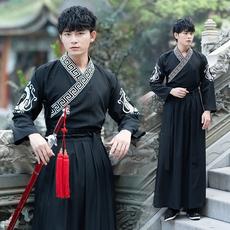 6066改良男装汉服古装 武侠风剑客刺绣花小袖交领襦裙两件套
