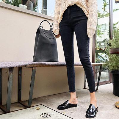 韩国破洞烂高腰牛仔裤弹力小脚裤