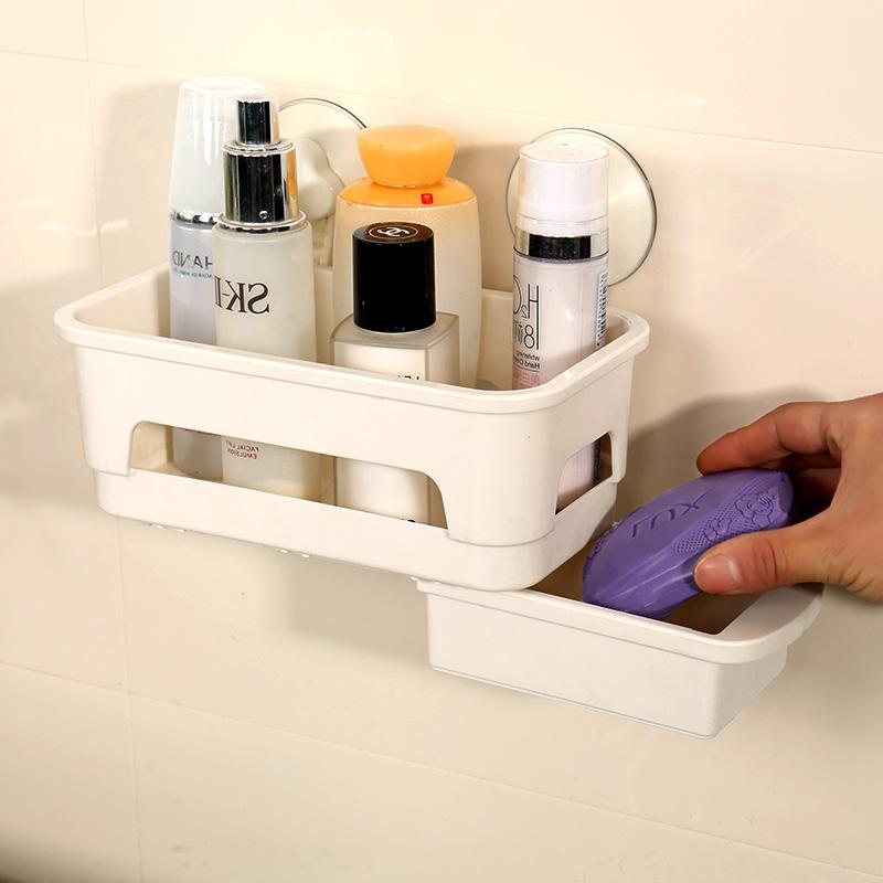 宝优妮浴室置物架洗漱用品收纳架吸壁式洗手间角架卫生间吸盘壁挂