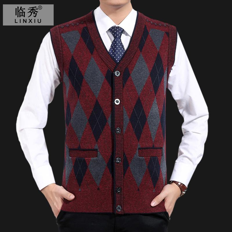 Đặc biệt hàng ngày trung và cũ người đàn ông của tuổi len áo len áo gi lê áo gi lê áo gi lê nam cha mặc áo len cũ vest