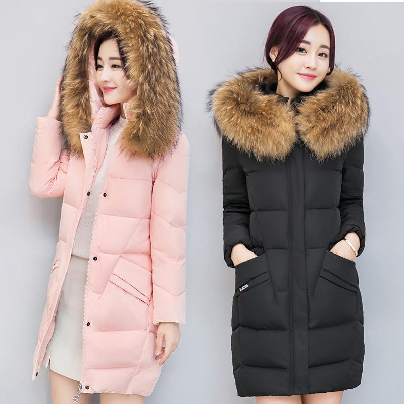 2018冬季棉衣女韩版修身显瘦加厚羽绒棉服中长款大毛领保暖潮10
