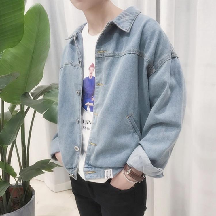 Hồng Kông phong cách đẹp trai denim áo khoác sinh viên Hàn Quốc mùa thu mới lỏng dài tay áo giản dị xu hướng của nam giới áo sơ mi
