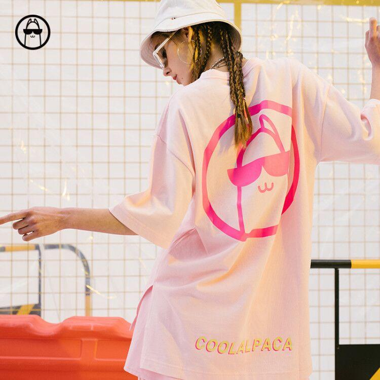 coolalpaca 19SS夏潮牌开叉短袖T恤男短袖t恤潮流宽松潮牌