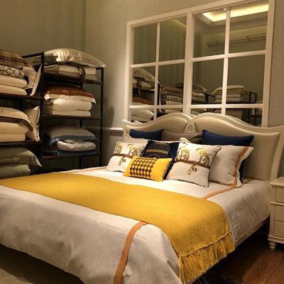 帘舞现代样板房床品家居卖场美式现代多件套蓝色软装定制设计促销
