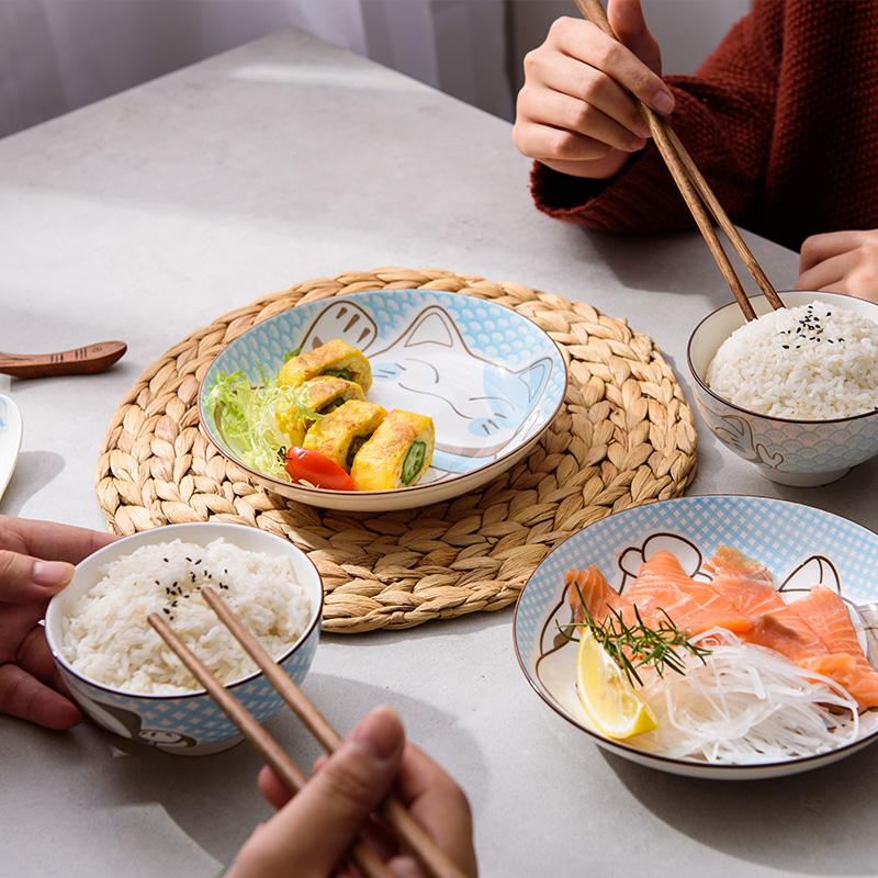 雅诚德 招财猫碗碟套装日式卡通陶瓷碗盘子家用创意吃饭餐具套装