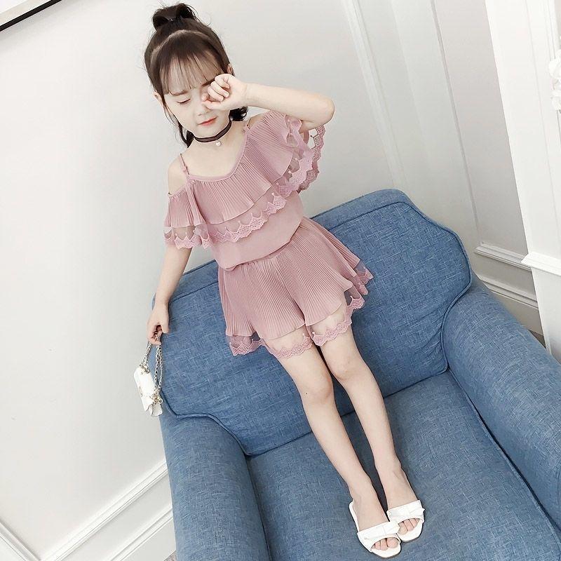 童装女童夏装套装2020新款中大童韩版雪纺两件套儿童洋气女孩衣服