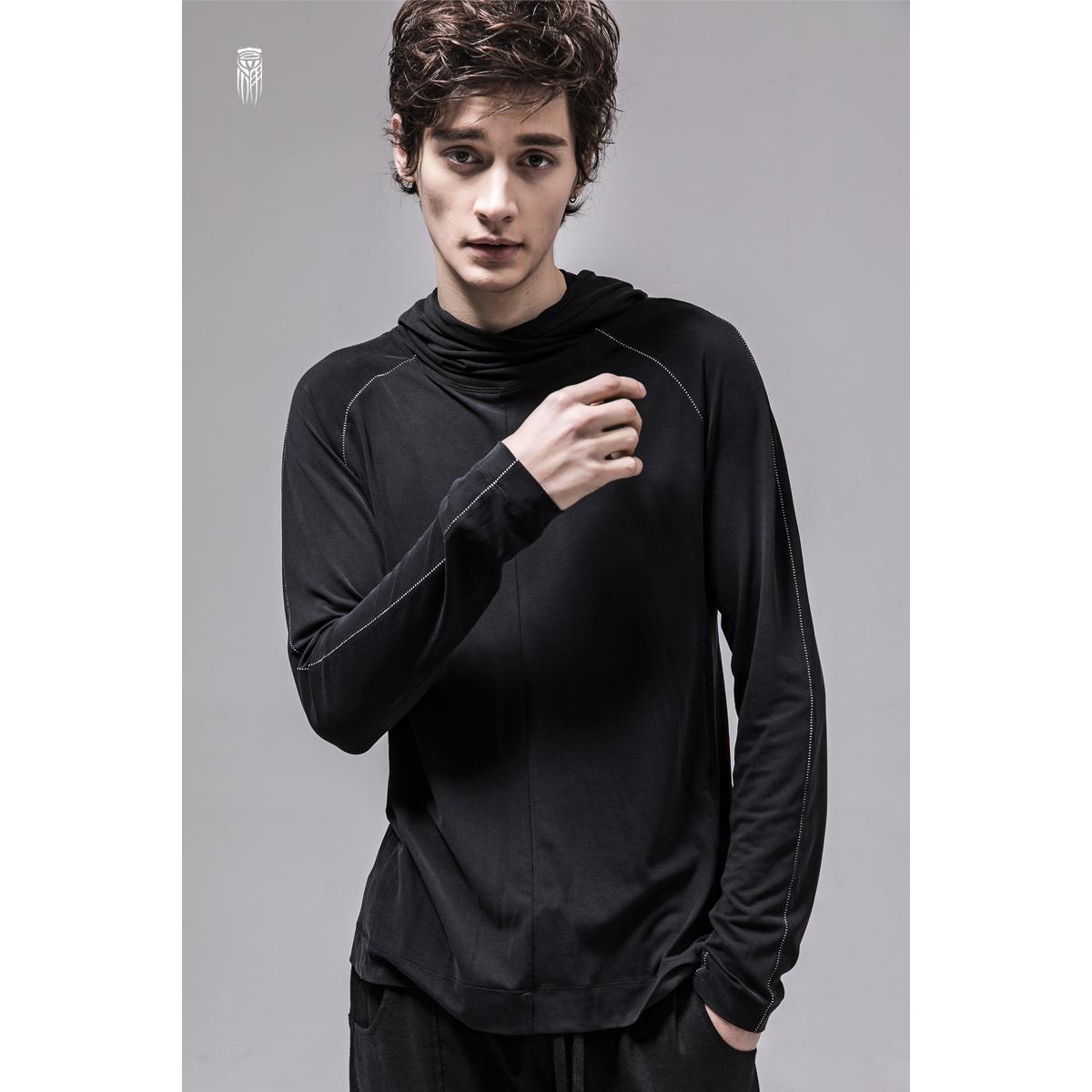 艺示单原创设计师品牌 连帽休闲长袖T恤男纯色修身套头打底衫潮牌