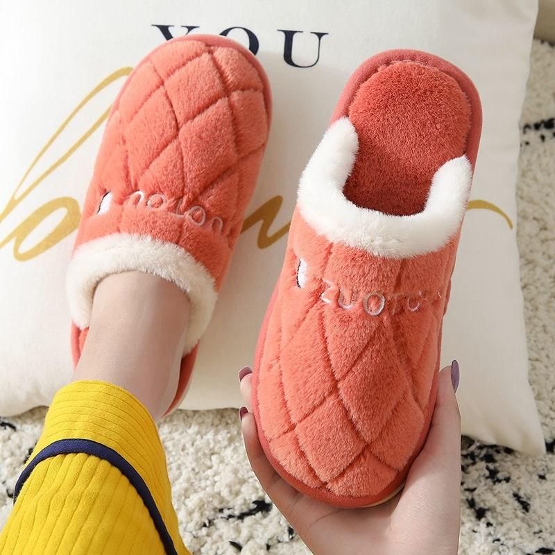 棉拖鞋女冬情侣居家包跟厚底防滑保暖月子鞋室内家用毛毛拖鞋男