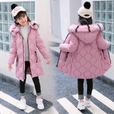Female big boy cotton clothes winter coat 8 9 10 Children 12 students long section of 13-year-old girl winter jacket 15