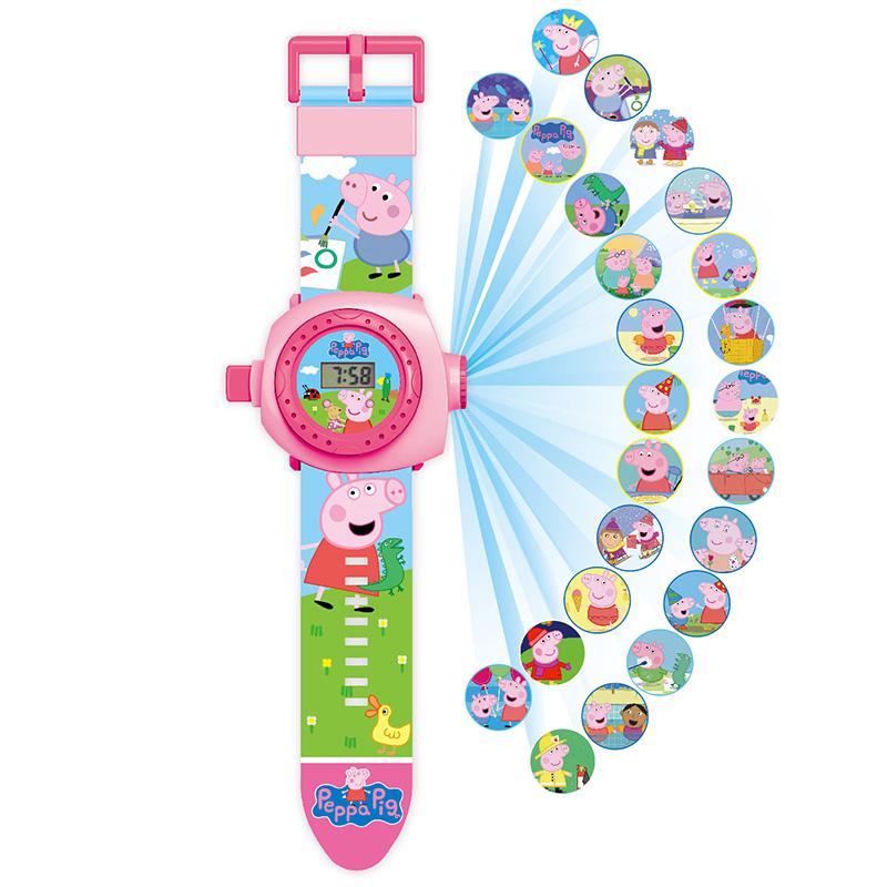 儿童卡通投影玩具手表电子表男孩女孩粉红小猪佩佩猪3D投影手表